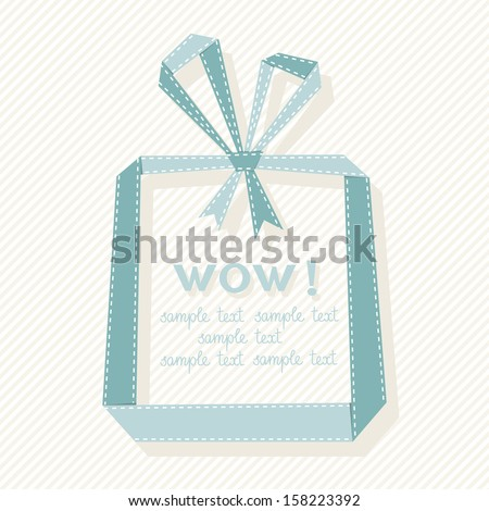 Vector banner with gift box made from paper ribbon. Origami modern simple background with text box for presentation. Original greeting, invitation card Valentine's Day, Christmas, wedding, birthday