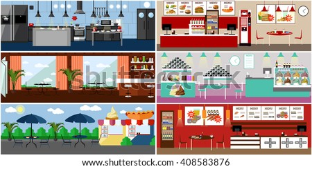 Vector banner with restaurant interiors. Kitchen, dining room, street cafe and fast food restaurant. Illustration in flat design. - stock vector