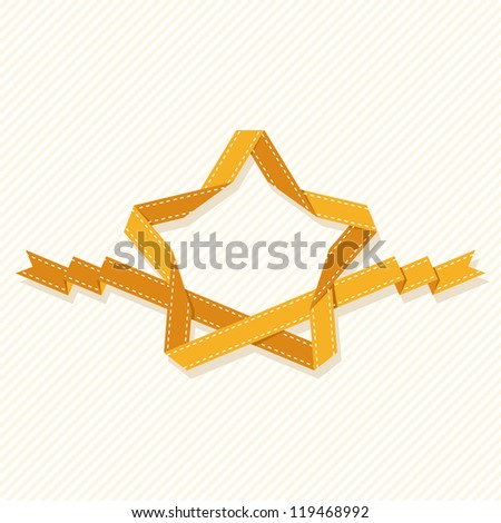 Vector banner with star made from gold paper ribbon. Simple graphic background with text box. Original illustration with drawing retro design element of label, mark of quality, greeting card of winner - stock vector