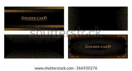 Vector banners and cards gold sparkles on black background. Gold background text. Banners voucher, store, present, shopping, sale, logo, web, card, vip, exclusive, certificate, gift, luxury, privilege