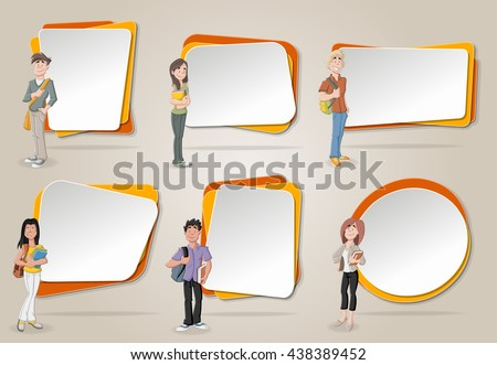 Vector banners / backgrounds with cartoon teenager students. Design text box frames.  - stock vector