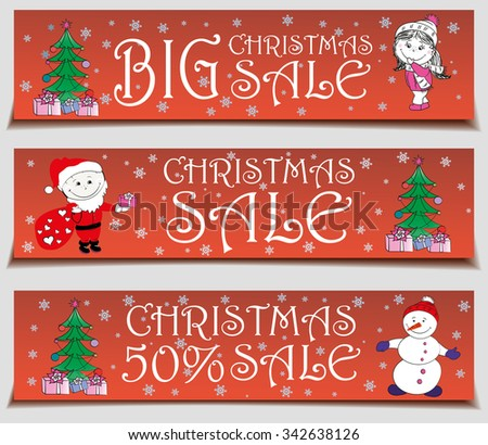 Vector banners Christmas sale , vector illustration