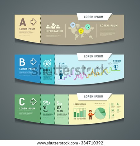 Vector Banners colorful paper cut for business infographic design background, illustration - stock vector