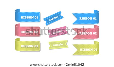 Vector Banners Corner Stickers Easy Editable - stock vector