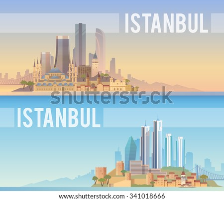 Vector banners of the urban landscape of Istanbul. Cityscape. Skyline. Flat design. - stock vector