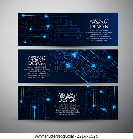 Vector banners set with Abstract blue lights technology background - stock vector