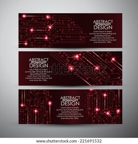 Vector banners set with Abstract red lights technology background - stock vector