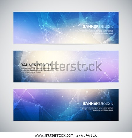 Vector banners set with polygonal abstract shapes, with circles, lines, triangles. Abstract polygonal low poly banners with connecting dots and lines. Connection structure. Vector science background.  - stock vector