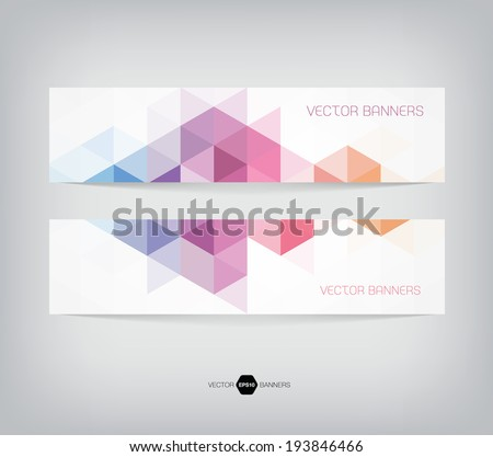 Vector banners with abstract multicolored polygonal mosaic background. Modern geometric triangular pattern. Business design template. Purple blue pink and orange colors - stock vector