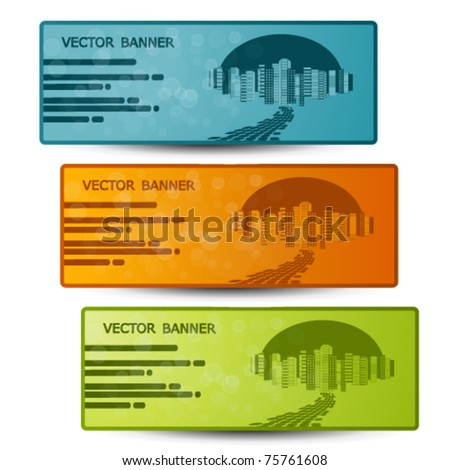 Vector banners with design of city - stock vector
