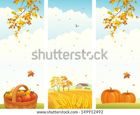 Vector banners with fall vertical landscapes - stock vector