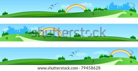 Vector banners with landscape, three version - stock vector