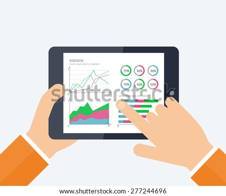 Vector banners with mobile statistics concept. Illustration of modern tablet PC with graphs and diagrams on the screen. Finance statistics report, statistic analysis. - stock vector