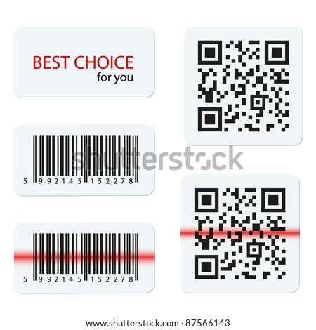 Vector bar code and qr code for your design - stock vector