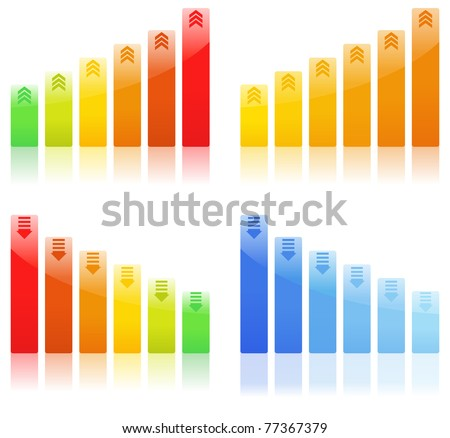 Vector Bar Graphs on white background - stock vector