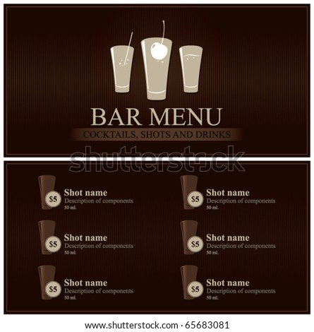 Vector. Bar menu. Full design - stock vector