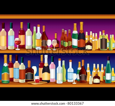 Vector Bar with different drinks, seamless vector illustration, elements separated