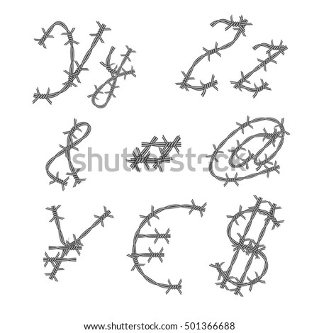 Vector Barbed Wire Font Monochrome Prickly Stock Vector 501366688