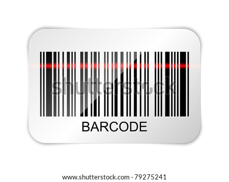 Vector barcode icon with red laser beam - stock vector