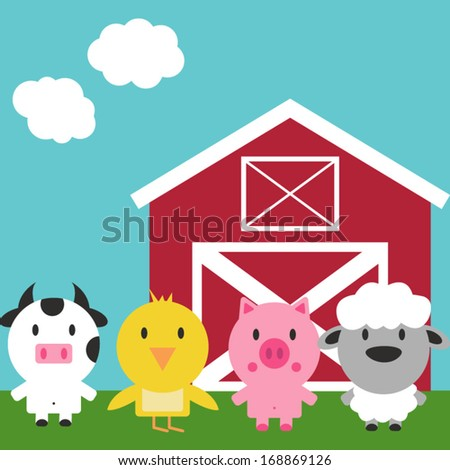 Vector Barn and Farm Animals Set - stock vector