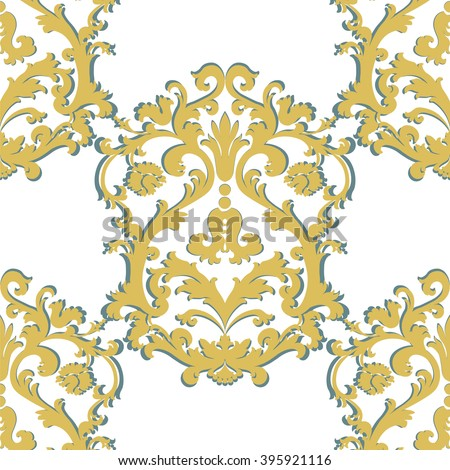 Vector Baroque damask ornament pattern element. Elegant luxury texture for textile, fabrics or wallpapers backgrounds. Gold color