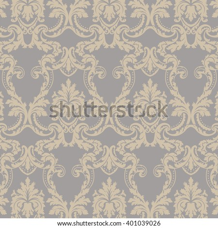 Vector Baroque floral Damask ornament pattern element. Elegant luxury texture for textile, fabrics or wallpapers backgrounds. Gold and lilac gray color