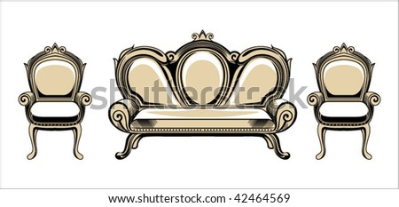 Vector baroque objects - stock vector