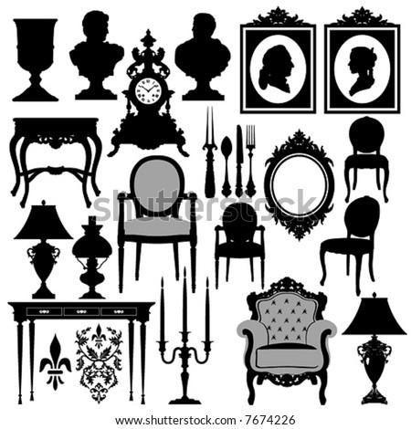 Vector baroque objects #2 - stock vector