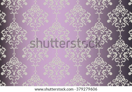 Vector Baroque ornament pattern on shinny gradient background. Design for wallpapers, textures or invitation card. Purple and gold color - stock vector