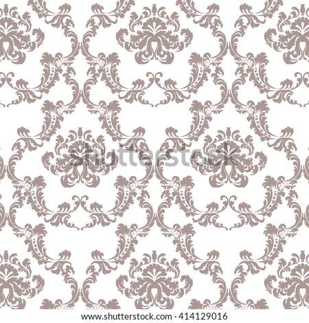 Vector Baroque Vintage floral damask pattern element background. Luxury Classic Damask ornament, royal Victorian texture for wallpapers, textile, fabric ornament - stock vector