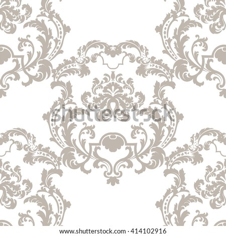Vector Baroque Vintage floral damask pattern element background. Luxury Classic lily floral stylized Damask ornament, royal Victorian texture for wallpapers, textile, fabric. beige color ornament - stock vector