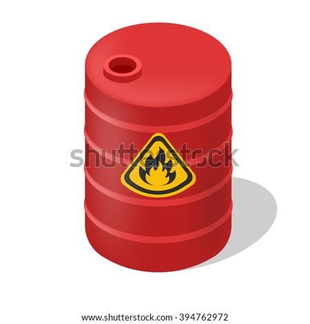 Vector barrel isometric. Isolated hazard flammable barrel. Red barrel isometric with sign flame. - stock vector