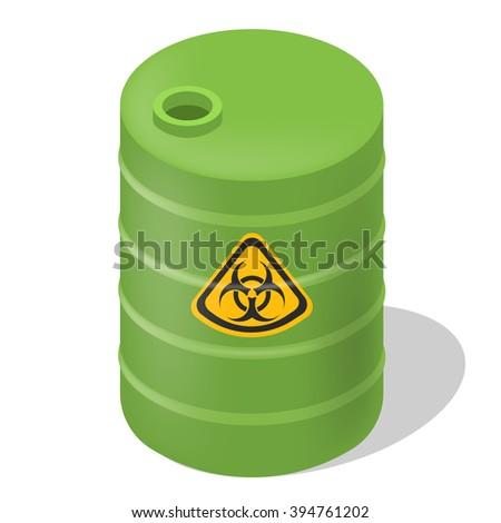 Vector barrel isometric. Isolated hazard toxic barrel. Green barrel isometric with sign toxic. - stock vector