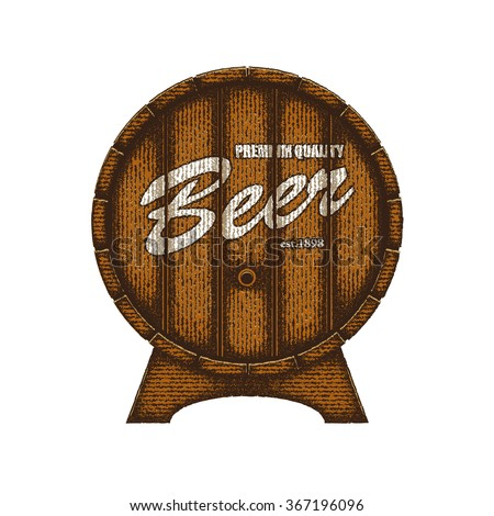 Vector barrel of beer. Eps8. RGB. Gradients free. Each elements are grouped separately. Highly detailed illustration.     - stock vector