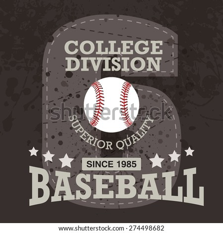 Vector baseball and graphics typography ( T-shirt, Poster, Banner, backdrops design ) - stock vector