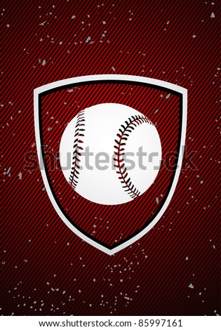 Vector baseball badge on red background