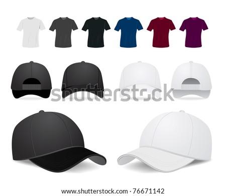 Vector baseball cap and shirt illustration on white background - stock vector