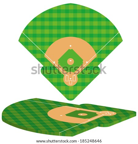 Vector Baseball Field Isolated On White Background