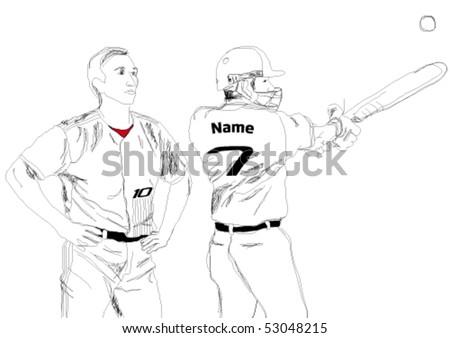 Vector baseball player. - stock vector