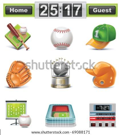 Vector baseball / softball icon set - stock vector