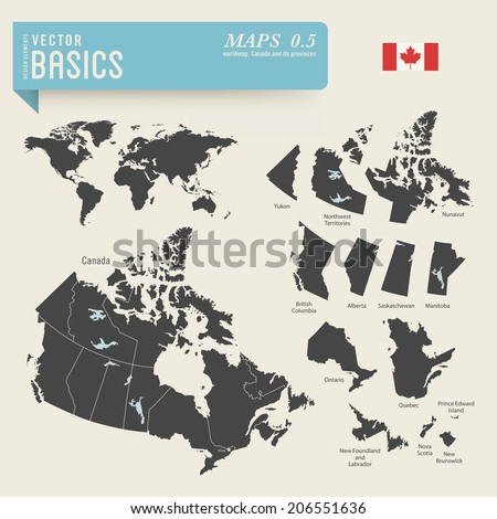 vector basics: Worldmap and detailed map of Canada and its provinces - stock vector