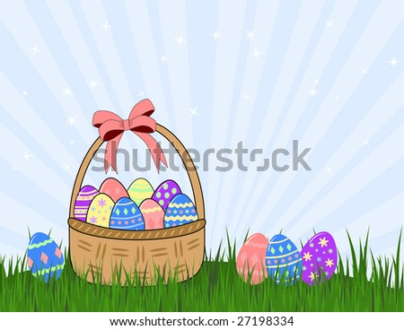 vector basket and easter eggs on grass