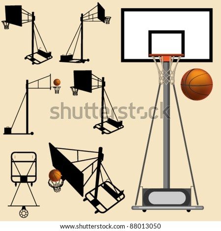 vector basketball hoop and ball silhouette set - stock vector