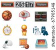 Vector basketball icon set - stock photo