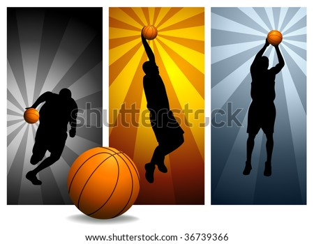 Vector Basketball Players#2. Easy change colors. - stock vector