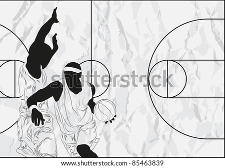 Vector basketball players on gray background - stock vector