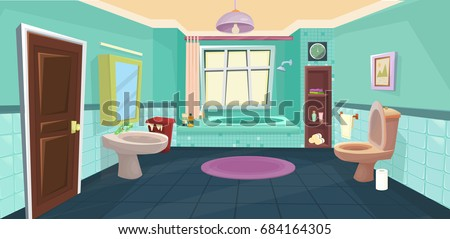 Vector Bathroom Cartoon Stock 684164305