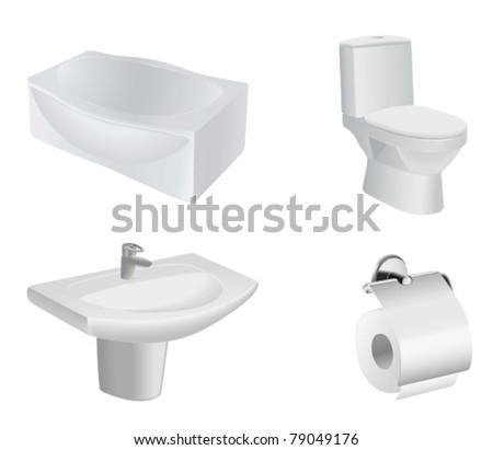 vector bathroom equipment set