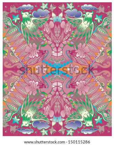 vector batik javanese indonesia in red wild color - stock vector