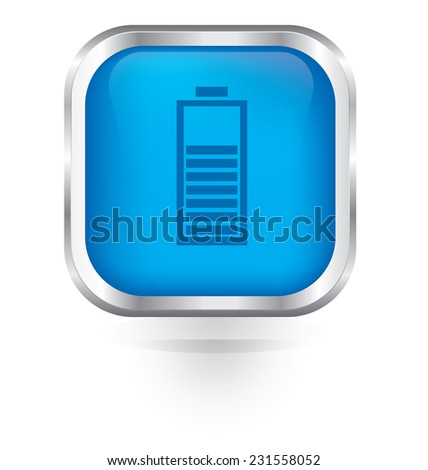 Vector battery charge icon glossy button  - stock vector
